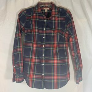J. Crew Women's Size 0  Red Plaid Button Down